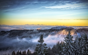 Picture winter, the sky, snow, mountains, nature, fog, ate, Nature, sky, landscape, winter, mountain, snow, fog
