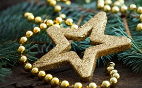 Picture decoration, toys, star, New Year, Christmas, beads, the scenery, Christmas, gold, holidays, New Year, gold
