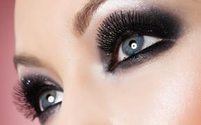 Picture eyes, look, girl, eyelashes, makeup, eyebrows, shadows