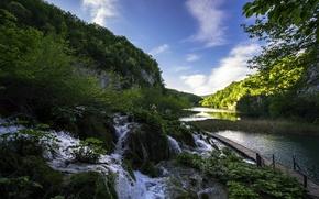 Picture lake, stream, Croatia, Plitvice Lakes National Park