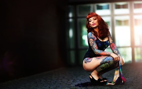 Picture girl, face, style, body, brown hair, tattoo, Xenia