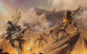 Picture weapons, rocks, robots, art, soldiers, battle, Bungie, Destiny