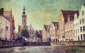 Picture people, boat, home, channel, tower, Belgium, filter, Bruges, Church