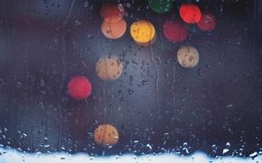 Wallpaper glass, drops, lights, bokeh