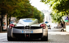 Picture silver, supercar, Pagani, on the street, back, To huayr