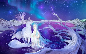 Picture stars, night, lake, Northern lights, deer, Hatsune Miku, Vocaloid, blue hair