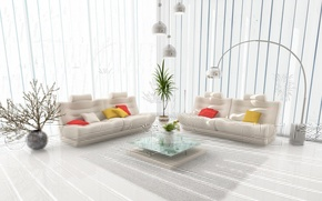 Picture sofa, lamp, vase, table