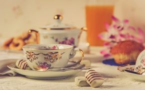 Picture flowers, tea, food, Breakfast, cookies, candy, cake, cake, food, flowers, cup, sweet, cakes, sweets, breakfast, ...