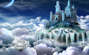 Picture clouds, castle, tale, Night