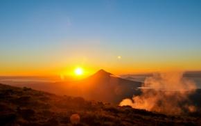 Picture the sky, dawn, landscape, mountain, Mountain, Sunrise