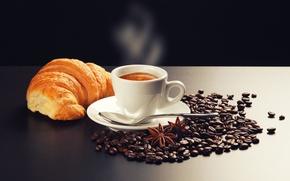 Picture foam, table, coffee, cinnamon, spoon, saucer, grain, smoke, croissant, star anise, cappuccino