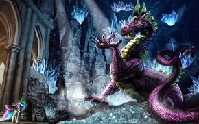 Picture dragon, figure, fantasy, art, cave, fantasy, crystals, art, dungeon, dragon, gems, fanart, fanart, My Little …