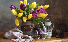 Wallpaper bouquet, tulips, dishes, still life, shawl