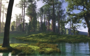 Picture forest, water, the sun, trees, pond, hills, swamp, art