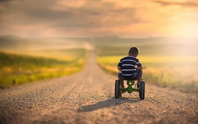 Picture road, bike, boy, space, child, bokeh