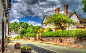 Picture clouds, trees, flowers, street, England, home, the bushes, Little Budworth