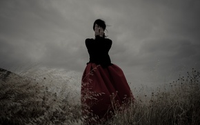 Picture girl, dress, field, clouds