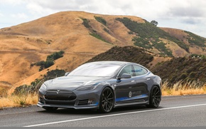 Picture road, mountains, Tesla, electric car, model s