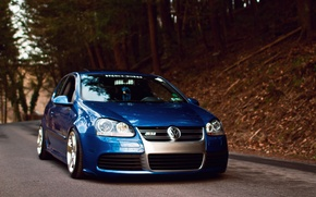 Picture blue, tuning, volkswagen, before, Golf, R32, golf