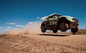 Picture The sky, Speed, Mini Cooper, Rally, Dakar, MINI, In the air, Mini Cooper, X-raid, Flies