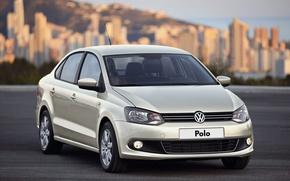 Picture asphalt, city, the city, volkswagen, before, wheels, sedan, front, Volkswagen, sedan, polo, blur, casting, metallic, ...