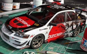 Picture figure, art, Mitsubishi, Lancer, Evolution, racing, dangeruss, ozoshi, Sport-compact, Sports sedan