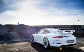 Picture Porsche, white, Porsche, GT3, 991, rearside