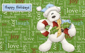 Wallpaper labels, Happy, Holidays, holiday, bear, Everyone