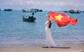 Picture sea, summer, girl, face, boats, dress, flag, Vietnam