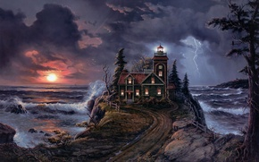 Picture road, sea, landscape, sunset, storm, coast, lighthouse, storm, art, Jesse Barnes, Lighthouse Cove