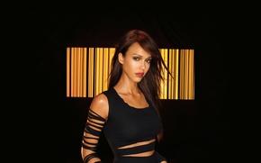 Picture look, girl, Jessica Alba, barcode, actress, brunette, lips, Jessica Alba, beautiful, black background, Dark Angel, ...