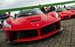 Picture drops, city, people, rain, Red, The city, Ferrari, area, exhibition, Ferrari, red, weather, salon, rain, …