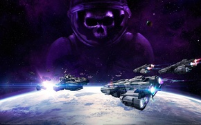 Picture space, planet, ships, stars, game wallpapers, VEGA Conflict