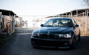 Picture the sky, black, bmw, BMW, the fence, black, the front, e46