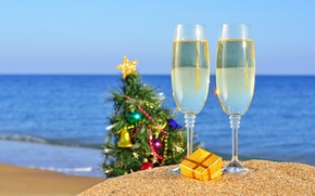 Wallpaper holiday, gift, tree, Christmas, toys, beach, sand, sea, new year, new year, glasses, the ocean, ...