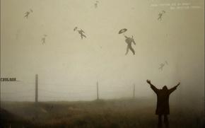 Picture freedom, flight, fog, meaning, nonsense, umbrella, loss
