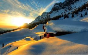 Picture winter, the sky, snow, landscape, nature, house, house, white, sky, landscape, nature, sunset, beautiful, winter, ...
