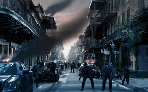 Wallpaper flags, left 4 dead 2, stores, road, machine, the city, zombies, building
