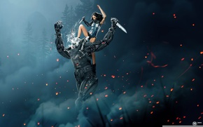 Picture forest, smoke, Girl, sparks, cyborg, fight, swords, photo manipulation, art by MadSpike