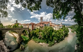 Wallpaper bridge, Italy, home, trees, Cividale, clouds, branches, river, landscape