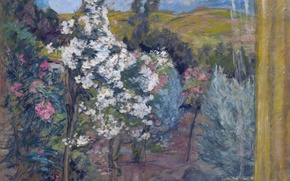 Picture trees, landscape, spring, garden, window, flowering, Henri Lebacq, View of the Garden from the Window