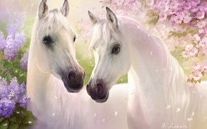 Picture flowers, art, horses, white, pair, petals, lilac, cherry, spring