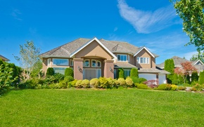 Picture greens, the sky, grass, house, glade, Sunny, mansion, the bushes