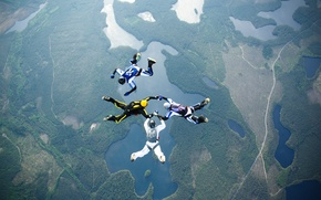 Picture road, lake, parachute, container, helmet, skydivers, extreme sports, parachuting, formation skydiving, 4-way FS