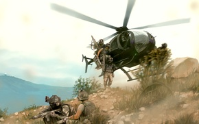 Picture war, art, helicopter, storm, operation, fighters, landing, Arma 3, littlebird