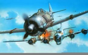 Wallpaper figure, fighter, art, plaque, bombardirovshik, interception, fw-190, b-17