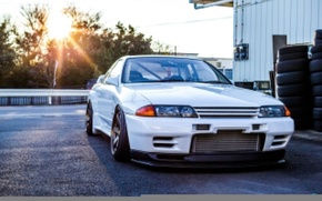 Picture nissan, white, skyline, japan, tuning, gtr, low, r32, stance, turbo.jdm