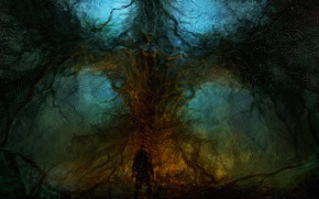 Wallpaper tree, people, Chris-Cold, Elemental, trees, the altar