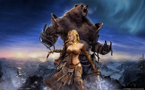 Wallpaper girl, fantasy, bear, Guild Wars:Eye of the North