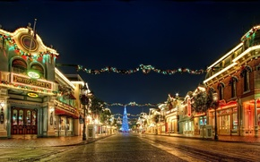 Wallpaper garland, holiday, light, decoration, the city, street, tree, new year, lights, night, lights